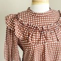 Anthropologie Brown White L Penny Gingham Mini Ruffle Short Casual Dress Size 12 (L) Anthropologie Brown White L Penny Gingham Mini Ruffle Short Casual Dress Size 12 (L) Image 8