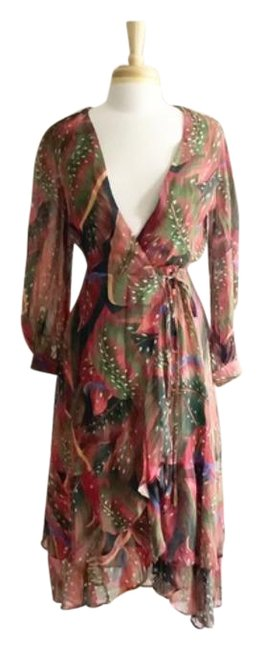 Item - Brown Red Farm Rio Plumas Wrap Floral Mid-length Work/Office Dress Size 4 (S)