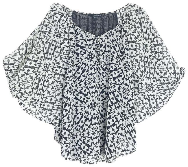 Item - Black Georgette Butterfly Print Poncho Sleeve Med Blouse Size 8 (M)