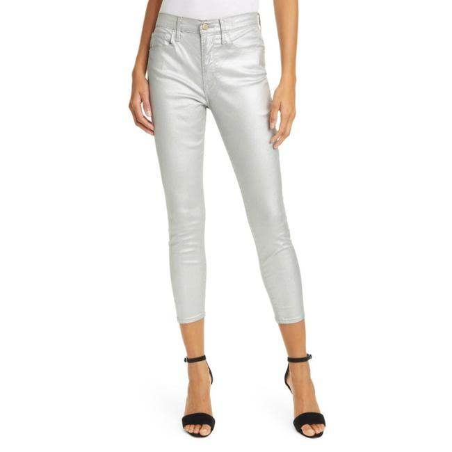 Item - Silver Coated Metallic High Rise Ankle Cropped Skinny Jeans Size 0 (XS, 25)
