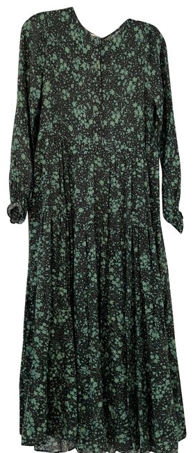 Item - Black Mint Green Yellow Floral Loose Long Casual Maxi Dress Size 2 (XS)