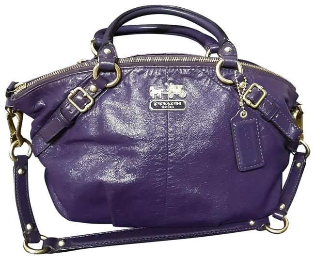 Item - Sophia 15860 Dark Purple Leather Satchel