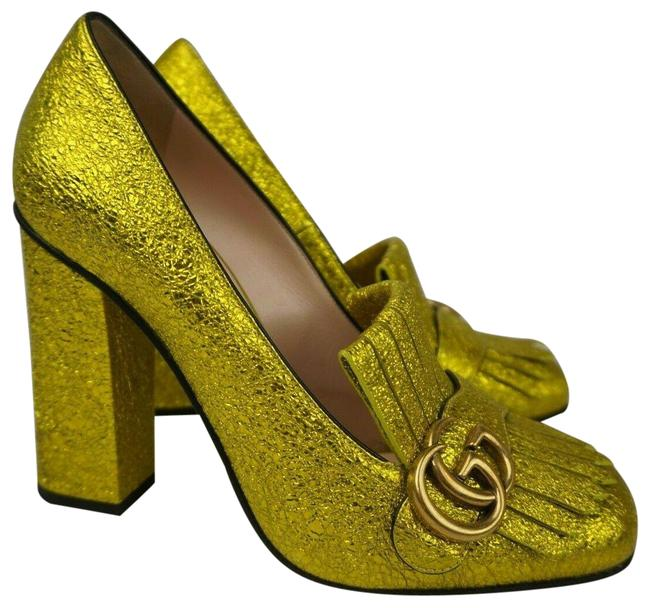 Item - Yellow Marmont Gg Metallic Leather Fringe Women's Pumps Size EU 39 (Approx. US 9) Regular (M, B)