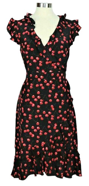 Item - Black and Red Cherry-print Silk Ruffled Faux-wrap Short Casual Dress Size 10 (M)