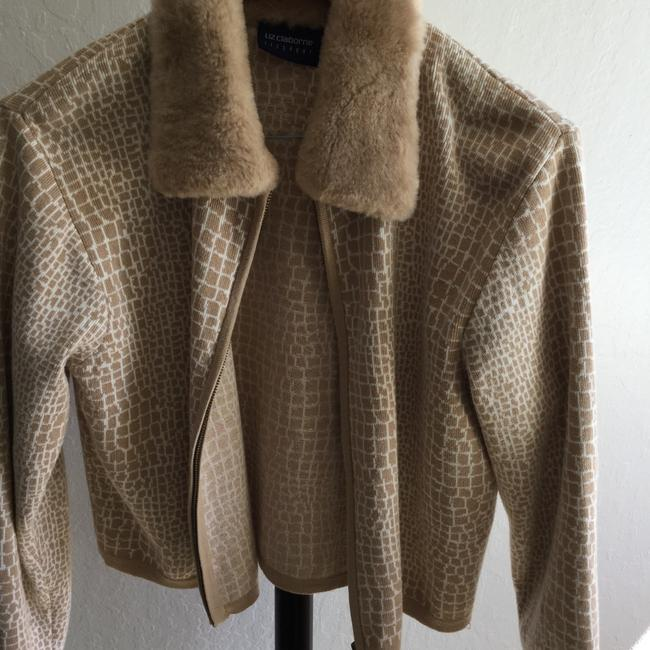 Liz Claiborne Cotton Faux Fur Animal Print Machine Washable Cotton Cardigan Cardigan Faux Fur Cardigan Alligator Alligator Print Sweater
