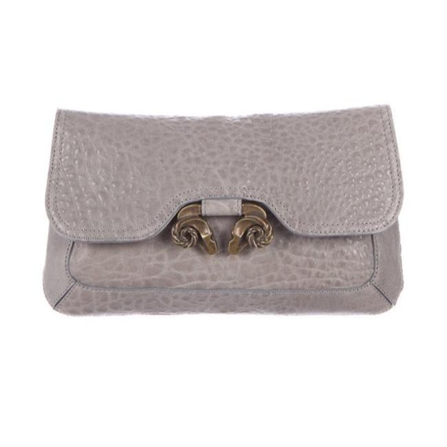 Item - Head Pebbled Evie Gray Leather Clutch