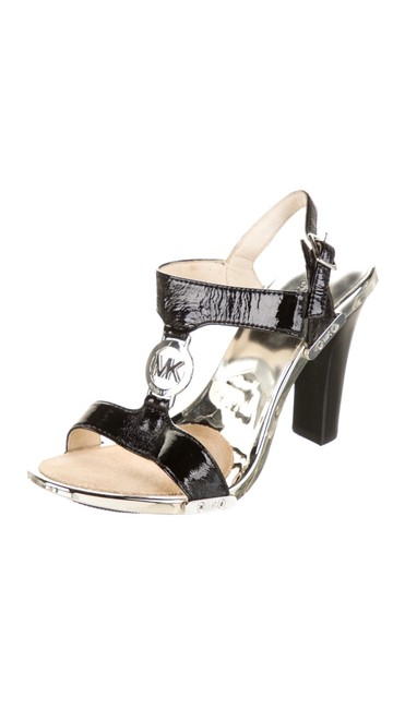 Item - Black/Silver Patent Leather Sandals Size US 6 Regular (M, B)