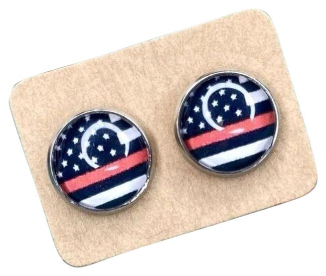 Black Red Cabochon Stud In Thin Line Flag Design Earrings Black Red Cabochon Stud In Thin Line Flag Design Earrings Image 1
