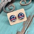 Black Red Cabochon Stud In Thin Line Flag Design Earrings Black Red Cabochon Stud In Thin Line Flag Design Earrings Image 2
