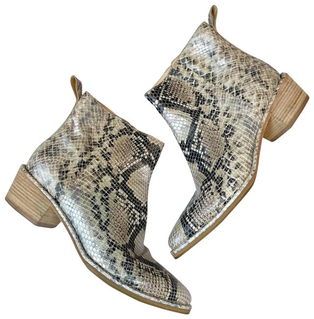 Item - Tan Reilly High Shine Snake Embossed Leather Sz7.5 Euc Boots/Booties Size US 7.5 Regular (M, B)