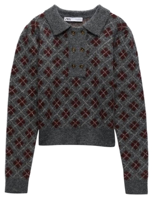 Item - Argyle Knit Wool Gray Sweater