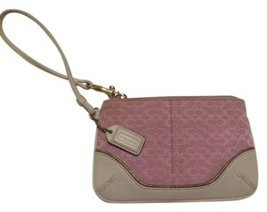 Coach Gold Touch Details Wristlet in Pink and White