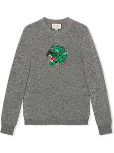 Item - New 300 Heather Green Panther Embroidered Face Knitted Grey Sweater