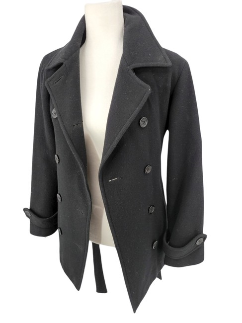 Item - Black Wool Belted Peacoat Coat Size 8 (M)