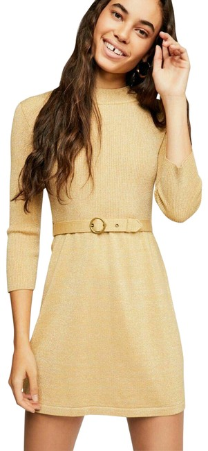 Item - Gold Long Sleeve Short Night Out Dress Size 8 (M)