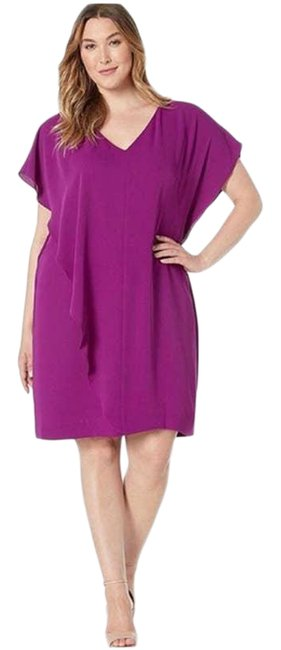 Item - Purple Ruffle Overlay Mid-length Short Casual Dress Size 12 (L)