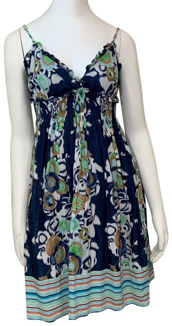 Item - Blue Mid-length Short Casual Dress Size 4 (S)