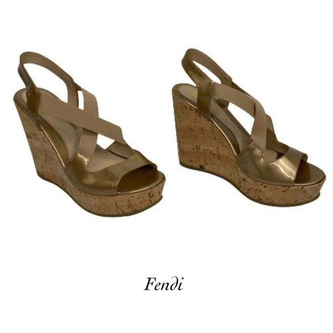Item - Gold Womens Patent Leather Elastic Strap 39 1/2 9 Wedges Size EU 39.5 (Approx. US 9.5) Regular (M, B)