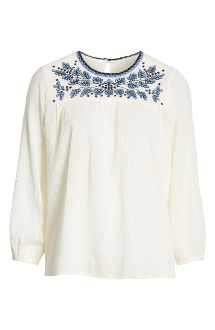 Lucky Brand White Boho Embroidered Peasant Blouse Size 12 (L) Lucky Brand White Boho Embroidered Peasant Blouse Size 12 (L) Image 1