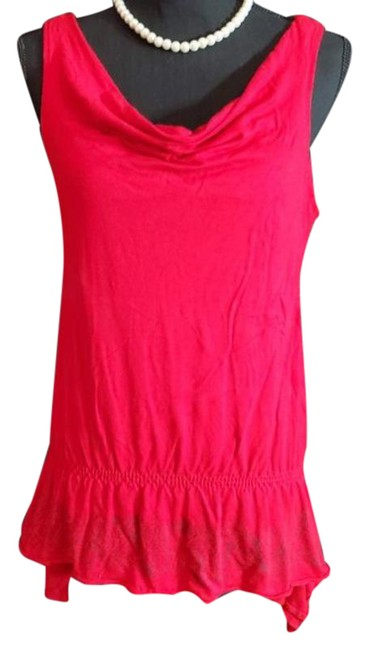 Item - Red Blue Scoop Embroiderer Sleeveless Blouse Size 12 (L)