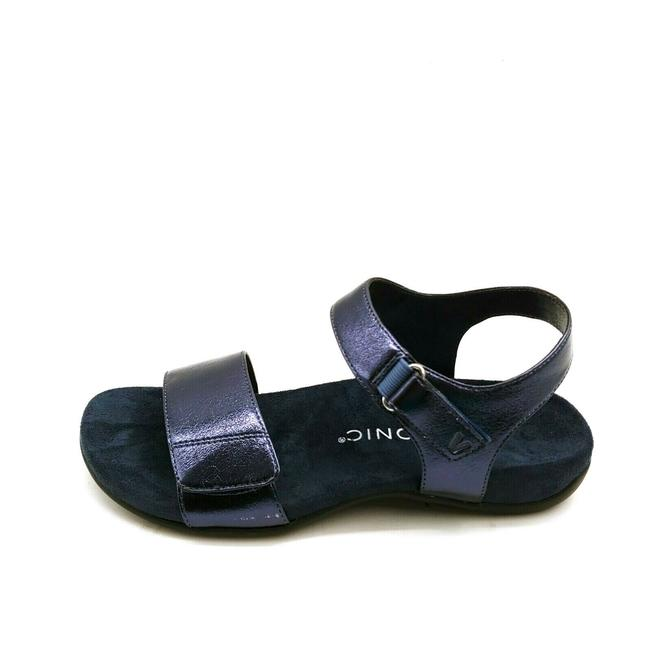 Item - Blue Womens Marsala Arch Support Metallic Adjustable Hook Lo Sandals Size US 8.5 Wide (C, D)