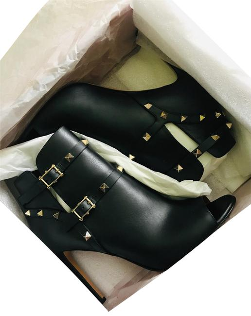 Item - Black Leather Gold Rockstud Open Toe Ankle Boots/Booties Boots/Booties Size EU 41 (Approx. US 11) Regular (M, B)
