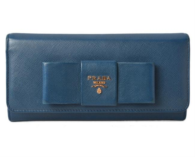Item - Blue / Bluette Long 1mh132 Saffiano Fiocco Embossed Leather Wallet