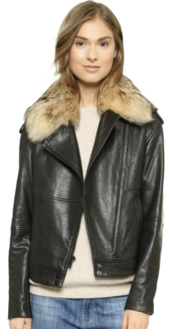 Item - Black Fur Collar Moto Jacket Size 10 (M)