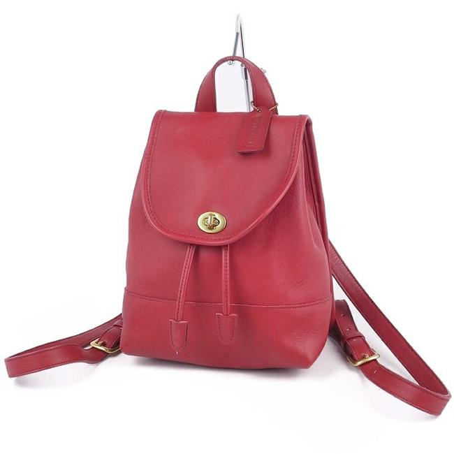 Item - Turnlock All Mini Ladies Vintage Red Color Leather Backpack
