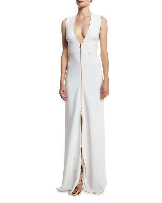 Item - White Sleeveless Plunging Zip-front Cady Gown Long Night Out Dress Size 4 (S)