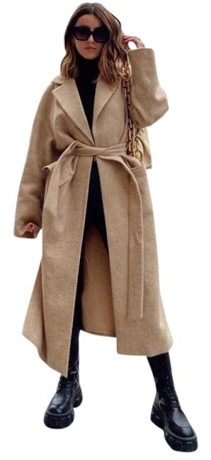 Item - Tan Limited Edition Belted Wool Coat Size 8 (M)