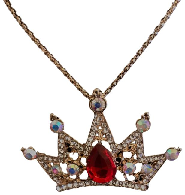 Item - Red Rhinestone Crown Necklace