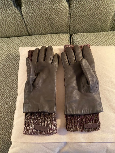Item - Gray Brown White Leather Gloves with Matching Arm Warmers Medium