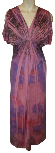 Item - Purple Multi Knit Tie Dye Long Casual Maxi Dress Size 4 (S)