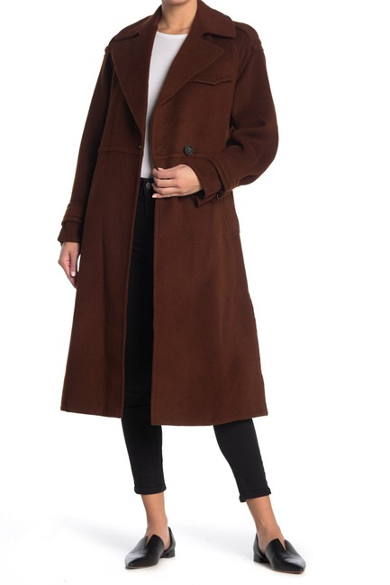 Item - Mahogany Belted Wool Blend Coat Size 2 (XS)