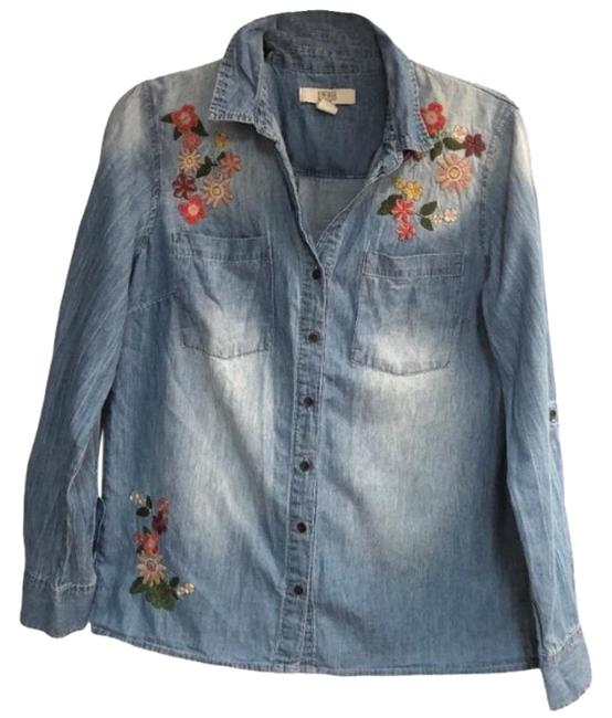 Item - Blue Embroidered Chambray Ricki Button-down Top Size 8 (M)