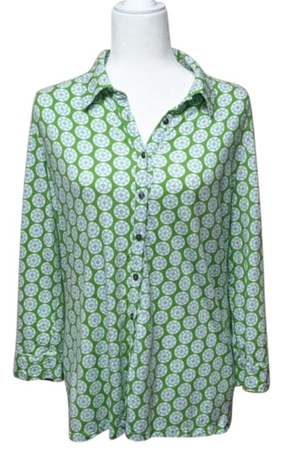 Item - Green Unknown Button-down Top Size 12 (L)