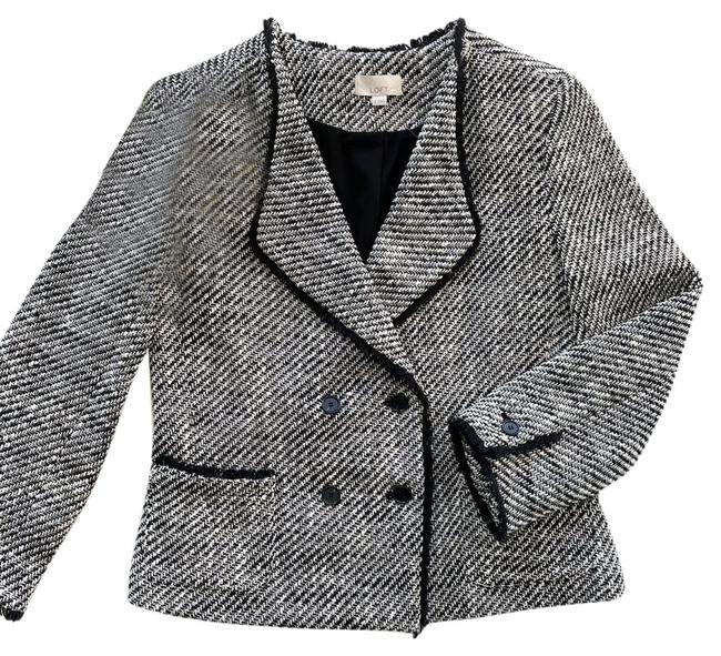 Item - Gray Double-breasted Tweed Blazer Size 8 (M)