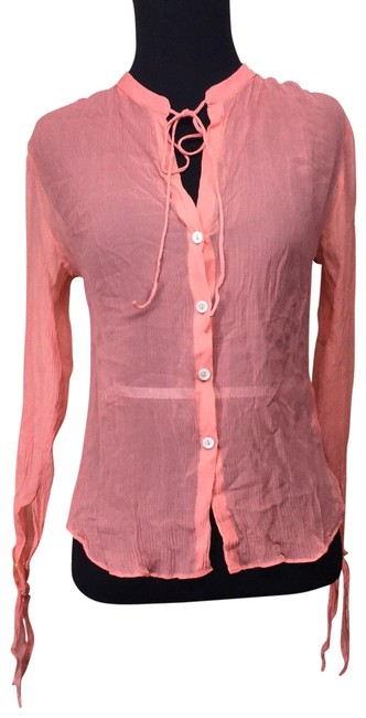 Item - Pink Coral Crinkle Silk Blouse Size 6 (S)