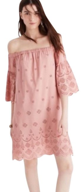 Item - Dusty Rose Pink Eyelet Off-the-shoulder Short Casual Dress Size 0 (XS)