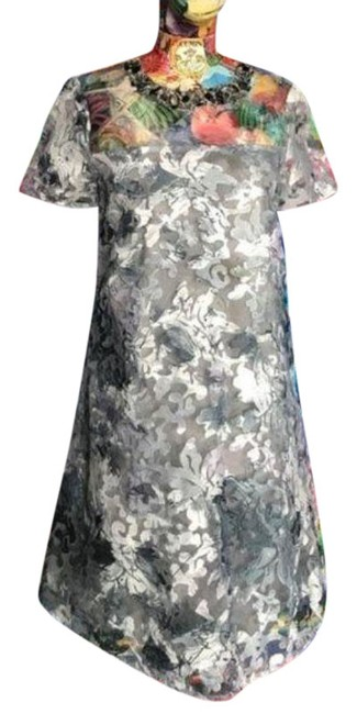 Item - Gray Silver Belle Beaded Brocade Short Cocktail Dress Size 4 (S)