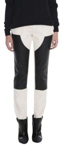 Item - Cream Black Leather Carpenter Patch Skinny Lamb Leather Straight Leg Jeans
