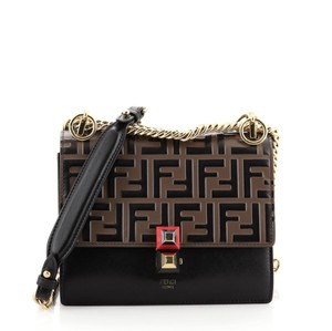 Item - Kan I Zucca Embossed Small Black Brown Leather Cross Body Bag