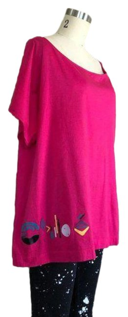 Item - Pink Graphic Logo Lettering Oversized Tee Branded Blouse Size 14 (L)