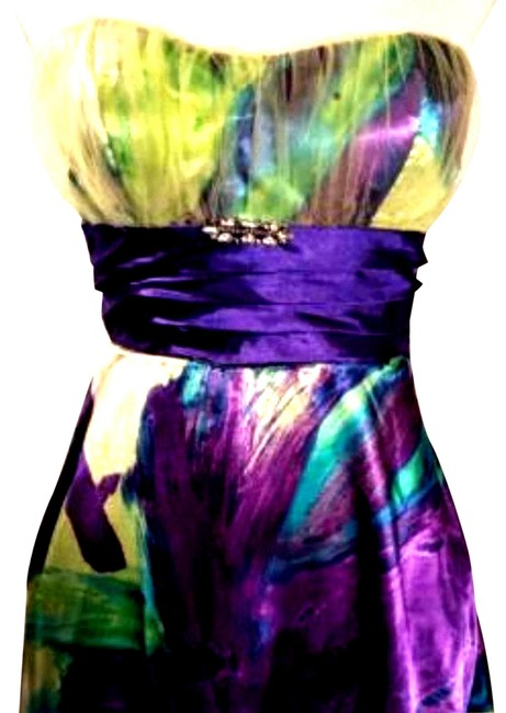 Item - Green Womens Prom Cocktail Mini Watercolor Sleeveless 3/4 329 Night Out Dress Size 4 (S)