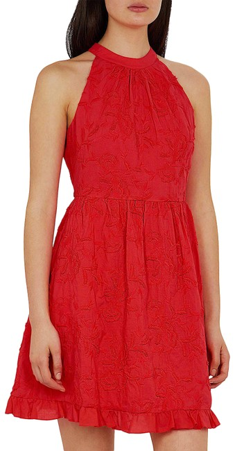 Item - Red with Tag Halter Neck Skater Embroidery Short Night Out Dress Size 2 (XS)