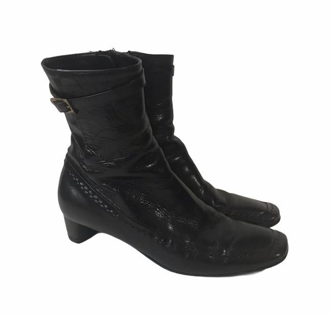 Item - Black Square Toe Leather Stitch Buckle Boots/Booties Size US 6.5 Narrow (Aa, N)