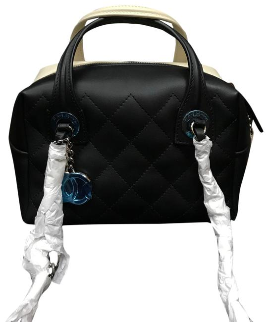 Item - Bowling Quilted 16p Small Black & White Lambskin Leather Shoulder Bag