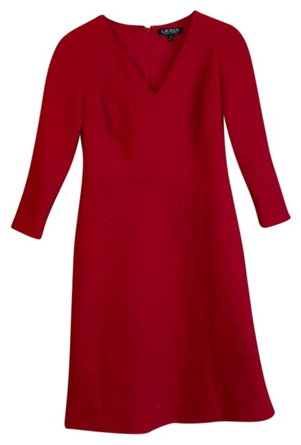 Item - Red Fit and Flare Mid-length Work/Office Dress Size 0 (XS)