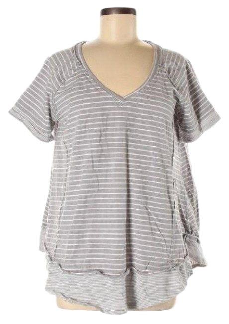 Item - Gray White Oversized Striped Tee Shirt Size 8 (M)